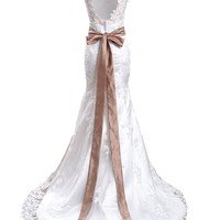 Meibida Mermaid Chapel Train Straps Appliques Wedding Dresses 2014 Bridal Gowns
