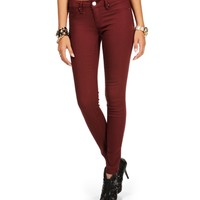 Burgundy Stretch Skinny Pants