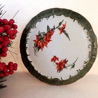 Trivet Ceramic Tableware  Hand Painted Hot Pad Christmas Poinsettia Wall Hanging Winter Holiday Home Decor FREE SHIPPING