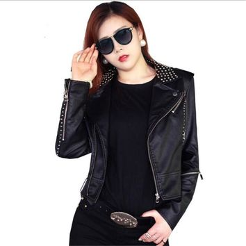 Black Leather Jacket Women Punk Rivets Studded Motorcycle Spiked PU Fake Sheepskin Leather Jackets Cazadora Cuero Mujer