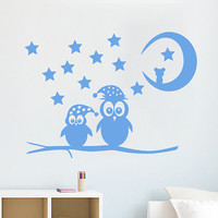 Wall Decals Owl Childrens Decor Kids Vinyl Sticker Moon Crescent Stars Owls Wall Decal Nursery Baby Room Bedroom Playroom Owl Decor SV6011