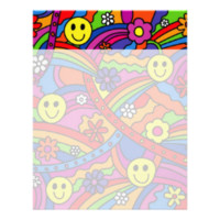 Smiley Face Rainbow and Flower Hippy Pattern Letterhead