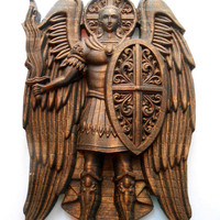 "Wooden carving icon ""Archangel Michael"" (pine) SIZE: 7"" 1/2 x 5"" Wall Art, Decor, Wall design, Art Deco"