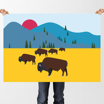 INSTANT DOWNLOAD Bison Wall Art, Herd of Bison, North American Bison, Mountain Print, Bison Print, Nursery Printable Art,  Colorful Print,