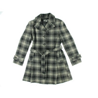 DKNY Womens Wool Plaid Coat