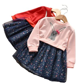 Toddler Kids Baby Children's long sleeve cartoon rabbit cute sweater mesh tutu floral mosaic dress 2018 New
