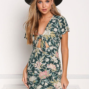 Multi Floral Tie Front Shift Dress