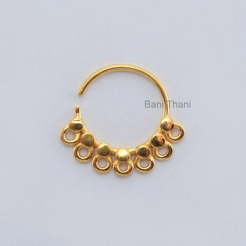 Handmade Gold Plated 925 Sterling Silver Nose Ring, Septum Piercing jewelry Real Tribal Septum - #6664