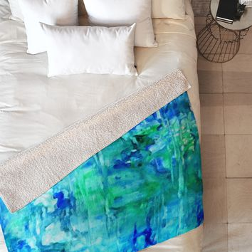Rosie Brown Blue Grotto Fleece Throw Blanket