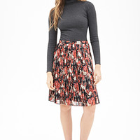 LOVE 21 Knife-Pleated Floral Skirt Black/Pink