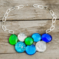 Sterling Silver 925 chain necklace Resin beads pebble shapes in green, blue, transparent silver flakes. Eye-catching statement bib necklace