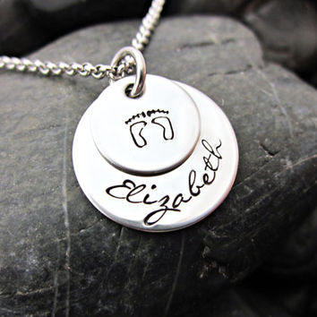 Personalized Mother's Necklace - New Mom - Name - Baby Feet - Layered