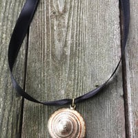 Vintage Liquid Gold & glazed Natural Nautilus Shell Pendant Beach Jewelry Charm 1970's or older