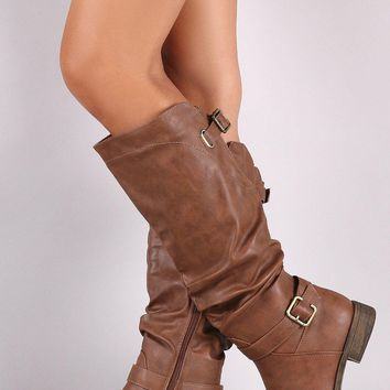 Double Buckle Slouchy Riding Knee High Boot