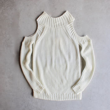 Cold shoulder knit sweater - ivory