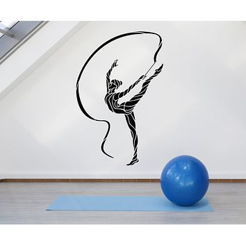 Vinyl Wall Decal Abstract Rhythmic Gymnastics Sport Girl Stickers (3289ig)