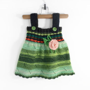 Knitted Girl Tunic Dress - Spring colors, 9 - 12 months