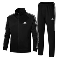ADIDAS 2018 autumn new men's casual sports running suit two-piece black