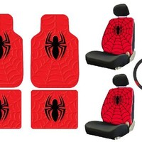 Spider-Man Web Spider Logo Marvel Comics Car Truck SUV Seat Rubber Floor Mats and Low Back Bucket Seat Covers with Headrest Covers and Steering Wheel Cover and Key Chain- 10PCS