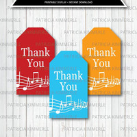 Printable Thank You Tags, Music, Rainbow, Recital, Instrument, Music Notes, Musical, Band, Birthday,  Favor Tags, Thank You, Loot Bag Tag