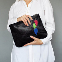 Leather clutch. Black leather clutch. Clutch bag. Evening clutch. Ipad case.