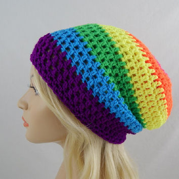 Rainbow Slouchy Beanie Womens Neon Crochet Slouch Hat Pink Orange Yellow Green Blue Purple Multicolor Fall Winter Hat