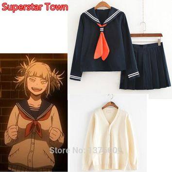 My Hero Academia Himiko Toga Costume Japanese Anime Cosplay Suit School Girl JK Uniform Sweater Cardigan Clothes