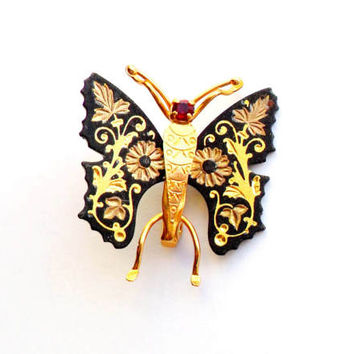 Vintage Damascene Butterfly Brooch Red Rhinestone Gold Tone Metal Black Flower Floral Design Bug Insect