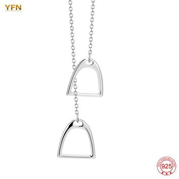 YFN Genuine 925 Sterling Silver Lucky Double Horse Hoof Pendant Horseshoe Necklace for Women Fashion Jewelry Christmas Gifts