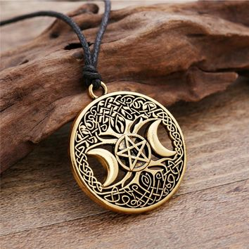 NEW CUSTOMER SPECIAL Celtic Knot Triple Moon Goddess Pentacle adjustable rope chain pendant necklace witchcraft jewelry wicca charms