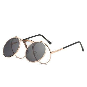 Vintage Women Sunglasses 2018 Round Flip Up Sunglasses for Men UV400 High Protection Sun Glasses Metal Frame Hiking Eyewear