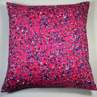 "Handmade Pillow Cover 14"" x 14"" - Multi Color, Red, White, Black, Pink & Purple with Black Twill - READY TO SHIP!"
