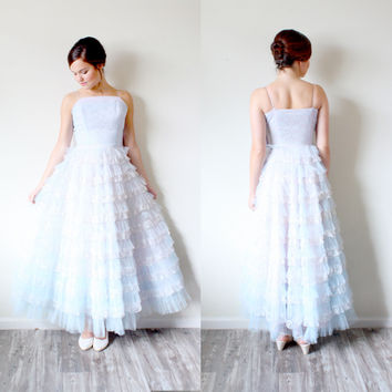 Blue Tulle Tea Length Dress
