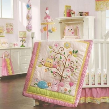 Lambs & Ivy Dena Happi Tree 10 Pc Baby Crib Bedding Set with Bumper & Mobile New
