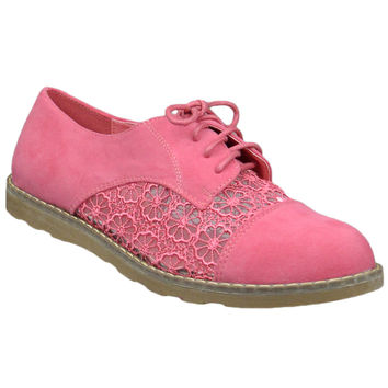Womens Closed Toe Shoes Embroidered Flower Lace Up Oxford Flats Orange