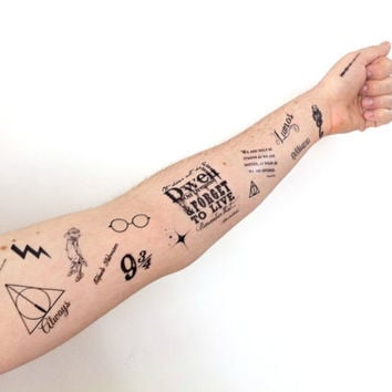 Temporary Tattoo Large Potter Set - Dobby, Dumbledore, Wizard, Lightning bolt, Fandom, Geekery