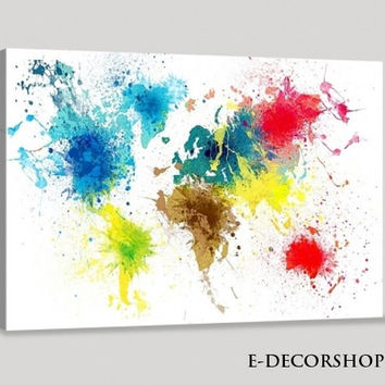Colorful Ink Splashed Watercolor World Map Canvas Art Print | World Map Canvas Printing | Large Panorama Canvas Print