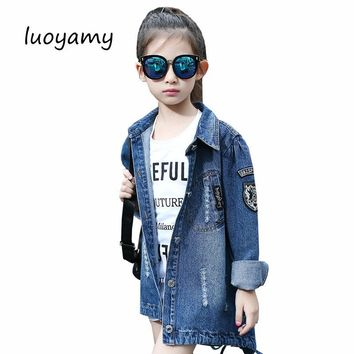 Trendy luoyamy Autumn Winter Girls Kids Long Turn-down Collar Tie Letter Denim Jacket Feminine Children's Coat Cowboy Jackets AT_94_13