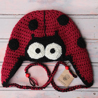 Ladybug Earflap Hat, handmade animal beanie for children and adults, funny hat,  country rustic hat, red black hat