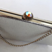 Vintage Retro 80s does 60s Glam Rock Shiny Silver Metallic Clutch Purse Handbag Diamond Envelope Chain Link Prom Evening Wear Bridal Wedding