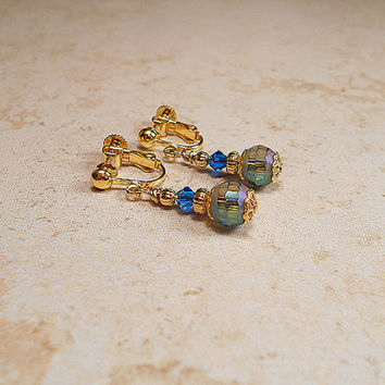 Adjustable Screw Blue Green Drop Clip Earrings Gold Plated Beaded with AB Peacock Beads and Swarovski Crystals Retro Style Gift Bling Glitz