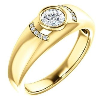 Matthew Round Bezel-Set Center with Diamond Accent Stones Men's Ring