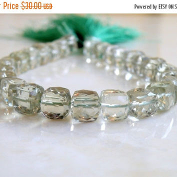51% Off Prasiolite Green Amethyst Gemstone Faceted Cube 8mm 13 beads 1/2 strand