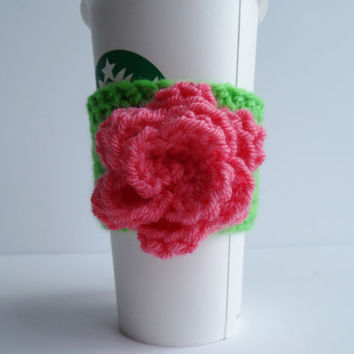 Crochet Flower Coffee Cup Cozy - Coffee Cozy - Coffee Cup Cover - Cup Sleeve