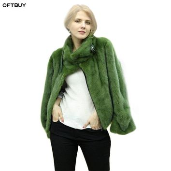OFTBUY 2018 autumn winter jacket women natural real mink fur coat thick warm Moto Biker streetwear plus size mink fur outerwear