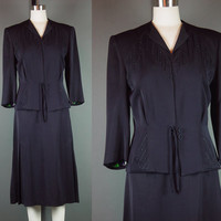 50s Black Skirt Suit Set  Vintage 1950s Jacket Straigh Floral Lined  S M