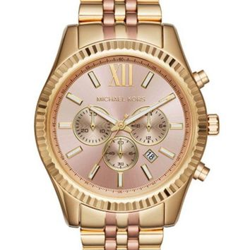 ONETOW Michael Kors MK6473 Women's Lexington Gold-Tone Chronograph Watch