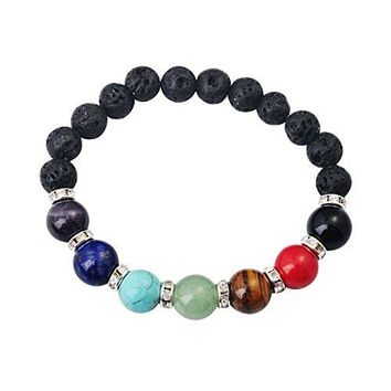 Joya Gift Men Women 8mm Lava Rock 7 Chakras Diffuser Bracelet Braided Rope Natural Stone Yoga Beads Bracelet Bangle