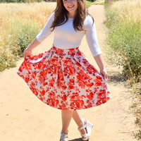 Red Floral Print A-Line Skirt