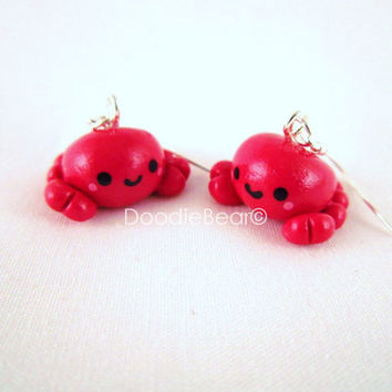 Red Crab Kawaii Polymer Clay Dangle Earrings by DoodieBear on Etsy